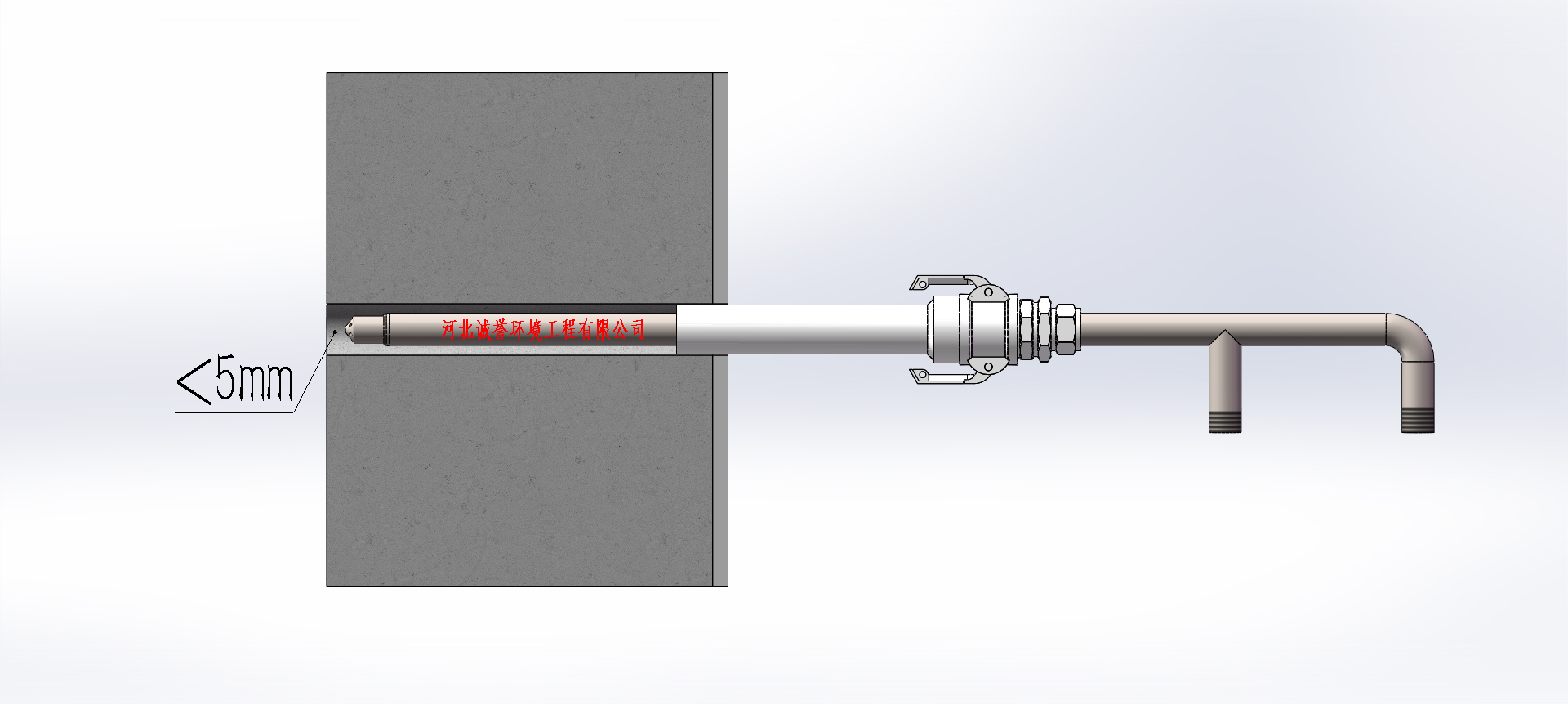 SNCR脱硝喷枪安装固定套筒